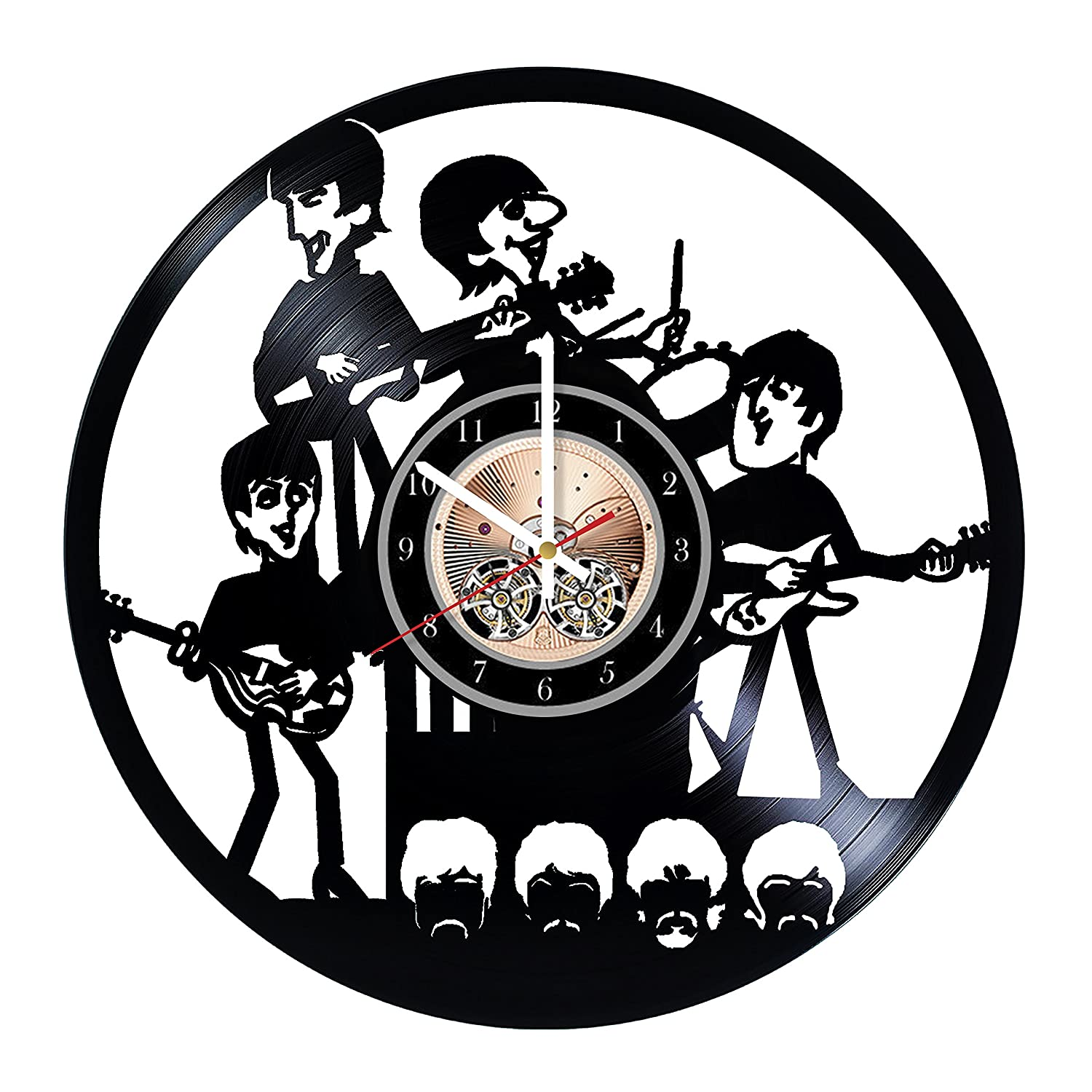 Wood Workshop Beatles Comics Vinyl Record Wall Clock Gift Ideas for him and her Get Unique Bedroom or Living Room Wall Decor