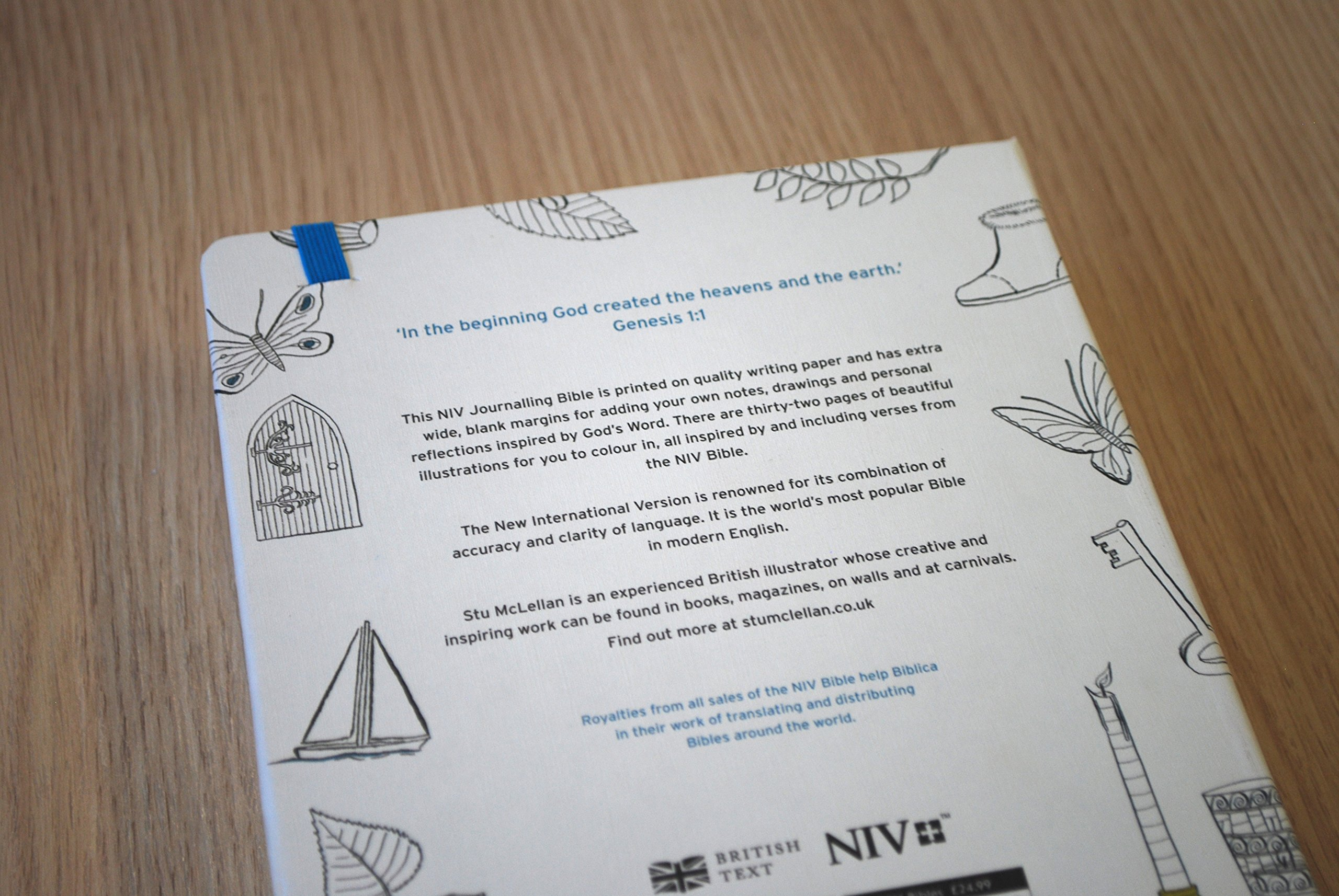 niv journalling bible for colouring in with unlined margins and