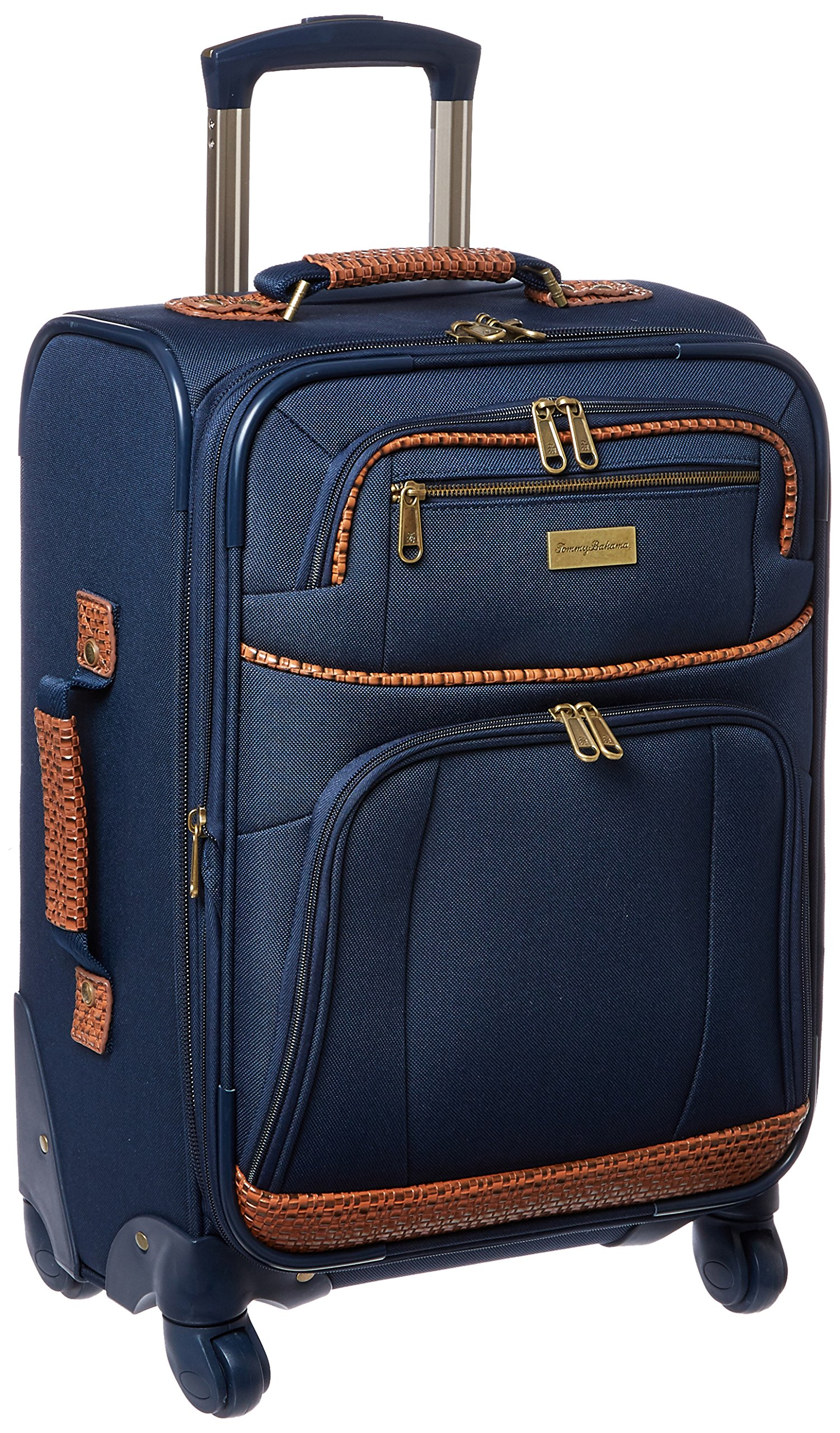Tommy Bahama Softside Carry On Luggage with Leather Travel Kit Toiletry Bag, Navy