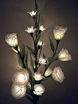 Rose Artificial Flowers L&s Made of Nylon Vase Lights Night Light Wedding Lighting Home Decor 20 Light Bulbs 33 Inch - - Amazon.com & Rose Artificial Flowers Lamps Made of Nylon Vase Lights Night ...
