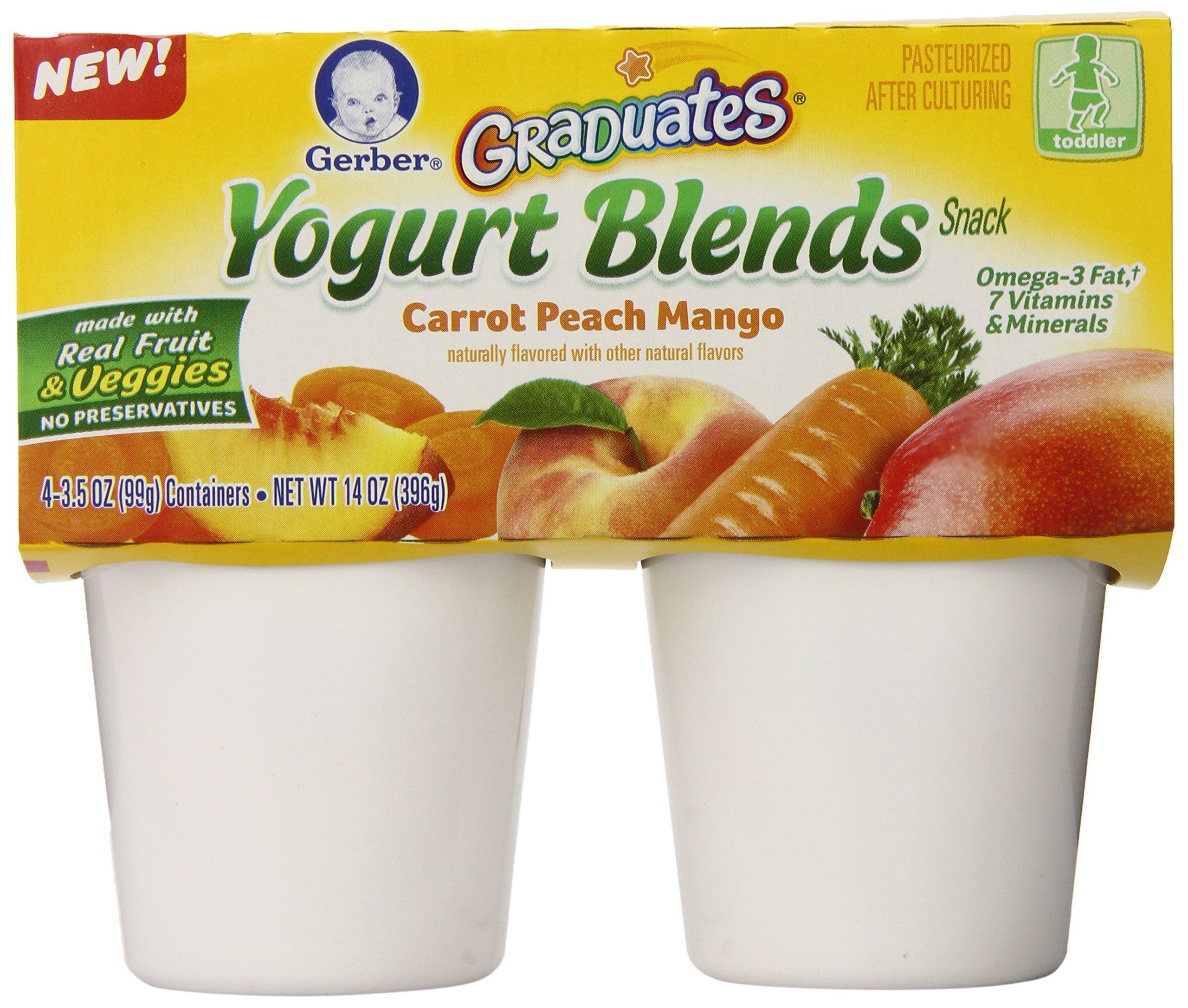 Gerber Graduates Yogurt Blends Snack, Carrot Peach Mango, 4 Count (Pack of 6)