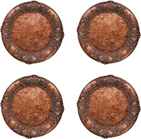 Charge It By Jay Embossed Set Of 4 Charger Large Decorative Melamine Service Plate For Home Professional Fine Dining For Upscale Catering Events Dinner Parties 14 Copper Kitchen Dining
