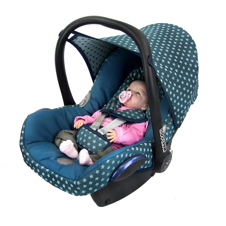 BAMBINIWELT Ersatzbezug für Maxi-Cosi CabrioFix 6-tlg, Bezug für Babyschale, Komplett-Set STERNE OLIVE *NEU* Bezug für Babyschale
