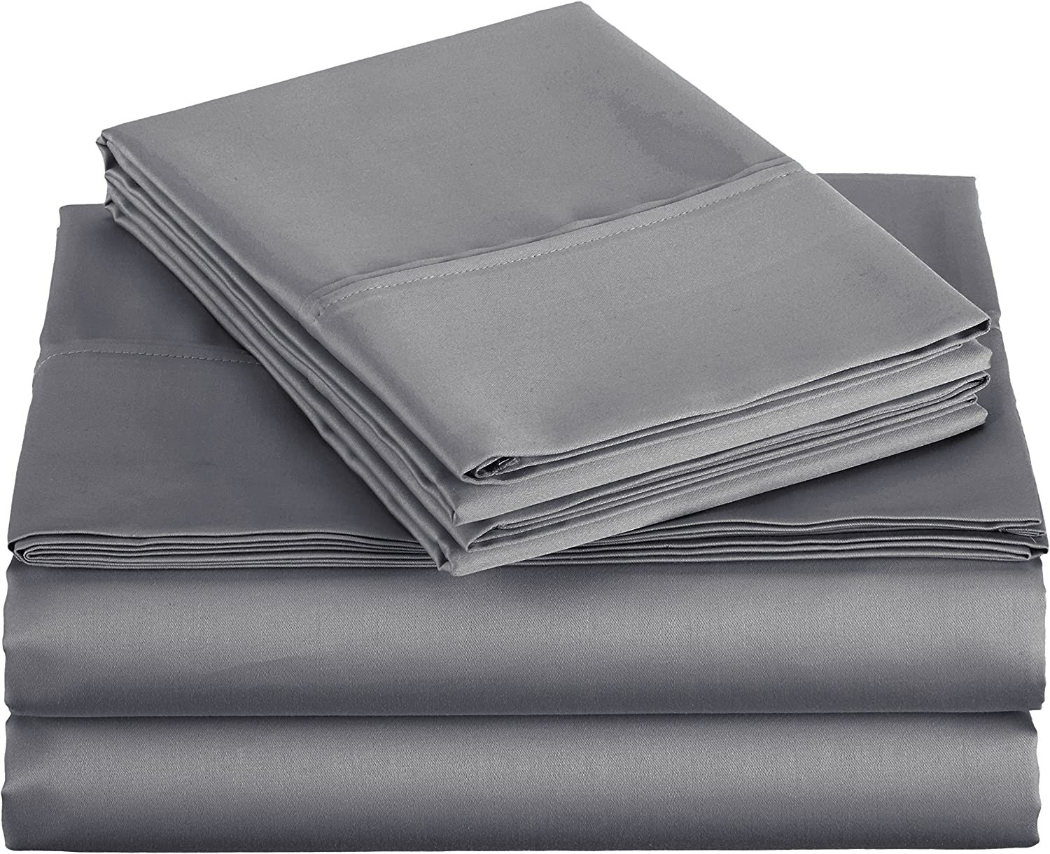 Basics 400 Thread Count Sheet Set, Queen, Dark Grey: Home & Kitchen