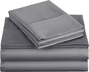 AmazonBasics 400 Thread Count Sheet Set, Twin, Dark Grey