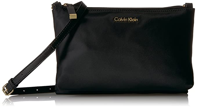 1d90fa221f1 Calvin Klein Lucy Nylon Top Zip Crossbody Cross Body, BLK/GOLD, One Size