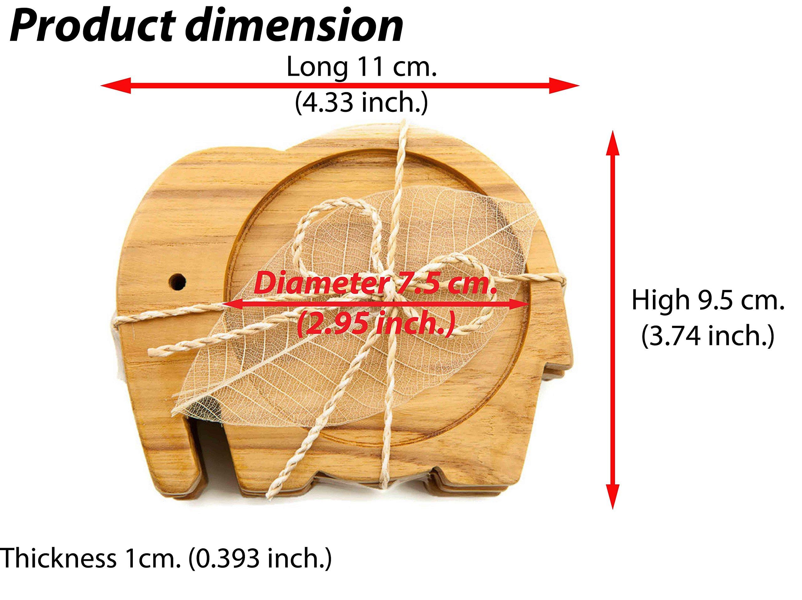 IYARA CRAFT Wood Coasters for Drinks Tea Cups Saucers,Table topper decoration set Elephant shape (Teak wood)