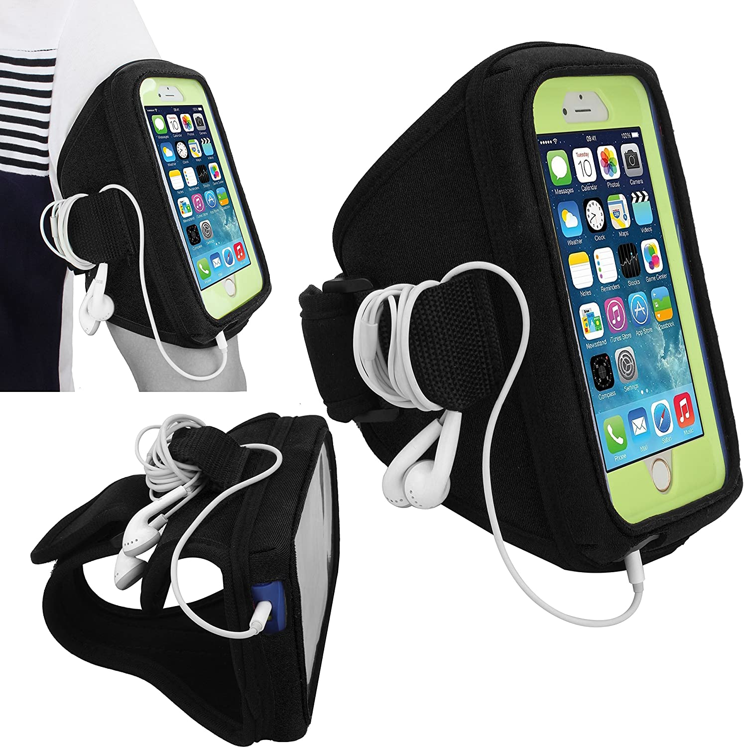 Galaxy S7 S6 S6 Edge S5 Workout Running Exercise Case for OtterBox Defender Wisdompro Armband for iPhone 6 6s Commuter Series or Lifeproof Cases with Key Holder Headphones Organizer-Black SM