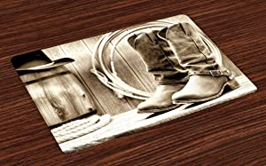 Ambesonne Western Place Mats Set of 4, Traditional Rodeo Supplies with Roper Boots in Vintage Nostalgic Wild Photo, Washable Fabric Placemats for Dining Room Kitchen Table Decor, Black and White