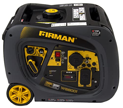 Firman W03083 Whisper Series 3000 3300 Watt Inverter Generator, Yellow