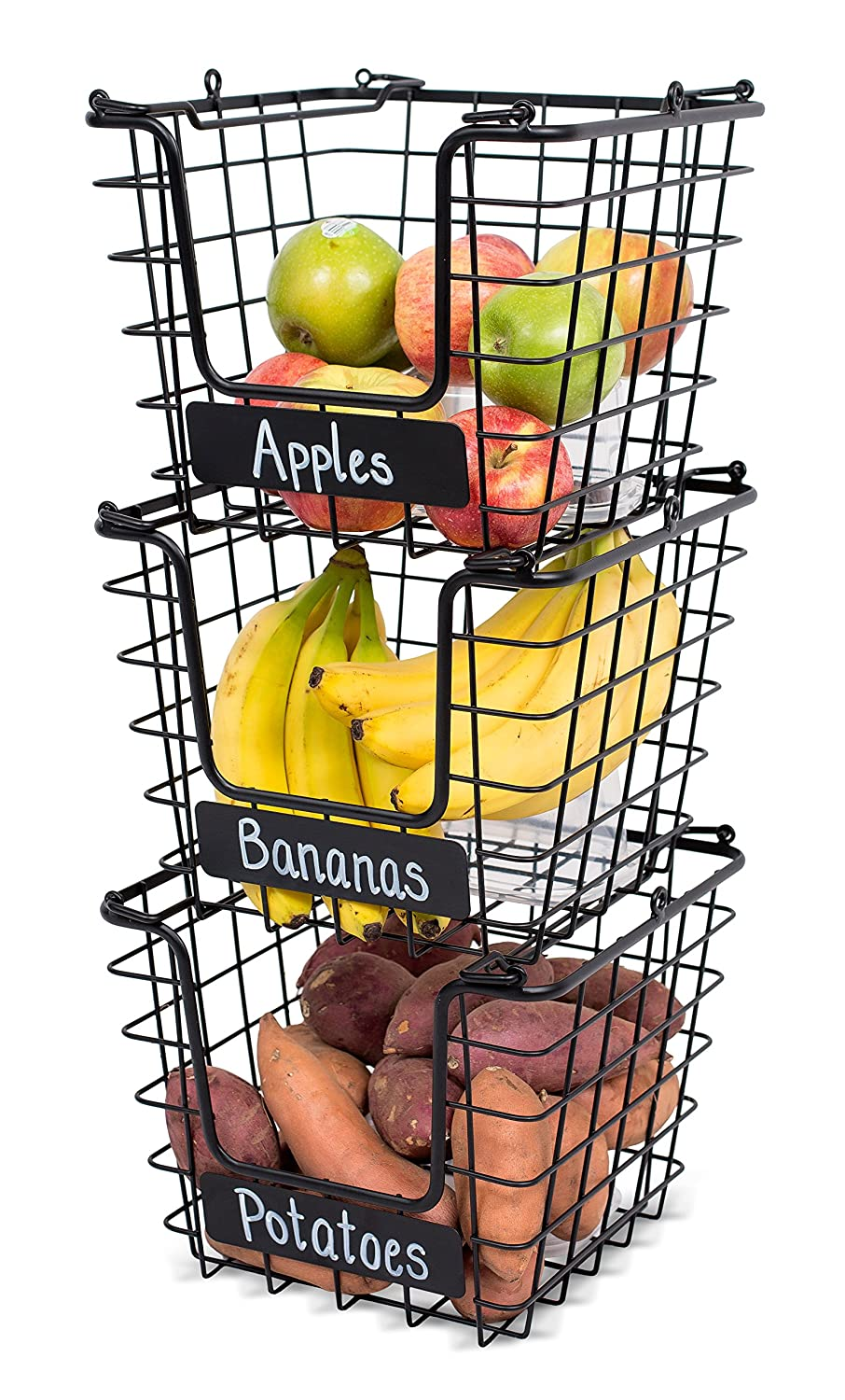 Amazon.com: BirdRock Home 3-Tier Wire Market Basket Stand with Chalk ...