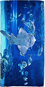Bisead 30×60 Inch Beach Towel,Angel Shark Aquarium You Can See as Stand #X27 S Stomach,Large Absorbent Quick Dry,Ivory Pink