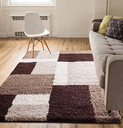 Shag Cubes Modern 5×7 5 x 7 2 Area Rug Brown Plush Geometric Blocks SquaresEasy Care Thick Soft Living Room