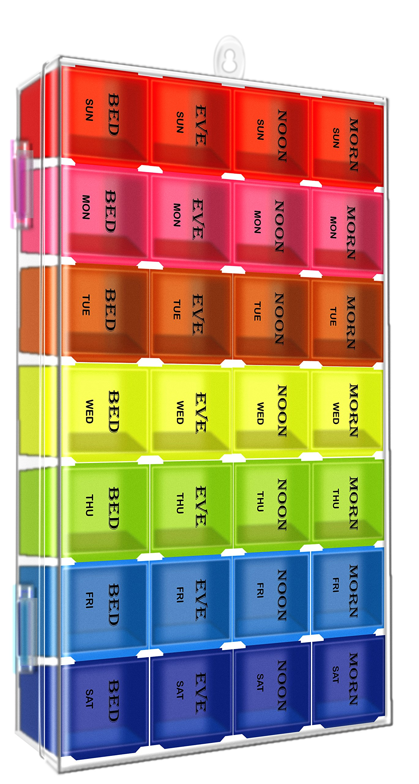 7 Days Pill Organizer Tablet Box Weekly Medication Case Daily AM Morning Noon PM Night Backup Container Compartments Detachable Dispenser (28 Compartments)