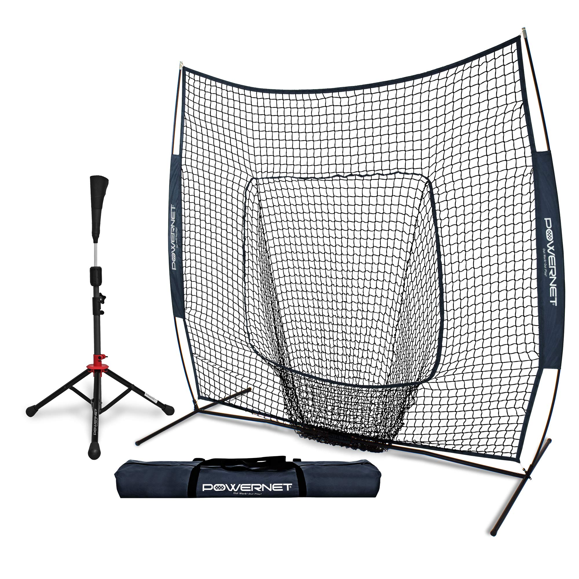 PowerNet Baseball Softball Practice Net 7x7 with Deluxe Tee (Navy) | Practice Hitting, Pitching, Batting, Fielding | Portable, Backstop, Training Aid, Lg Mouth, Bow Frame | Training Equipment Bundle by PowerNet