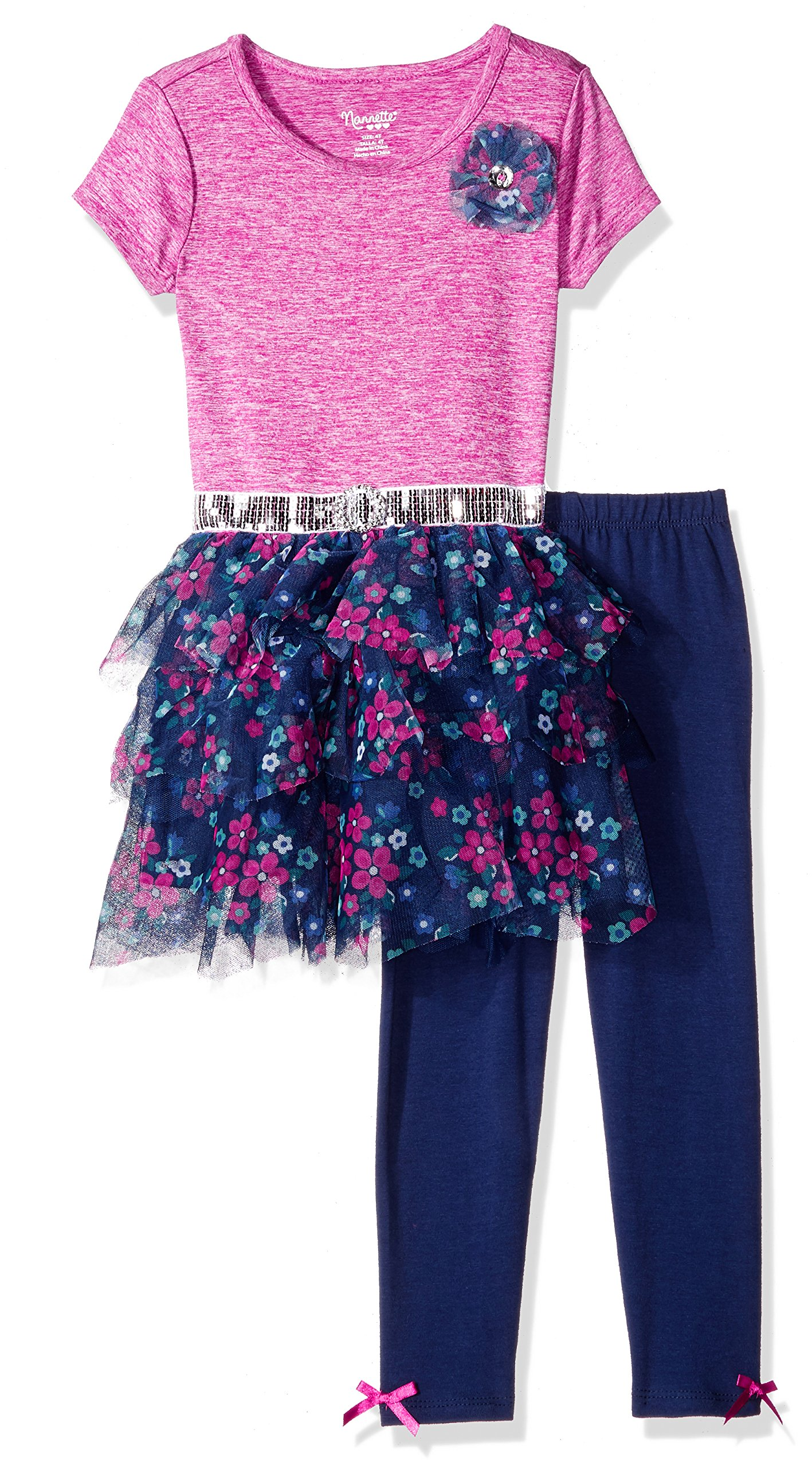 Nannette Little Girls' Toddler 2 Piece Fashion Legging Set with Space Dyed Top, Pink, 4T