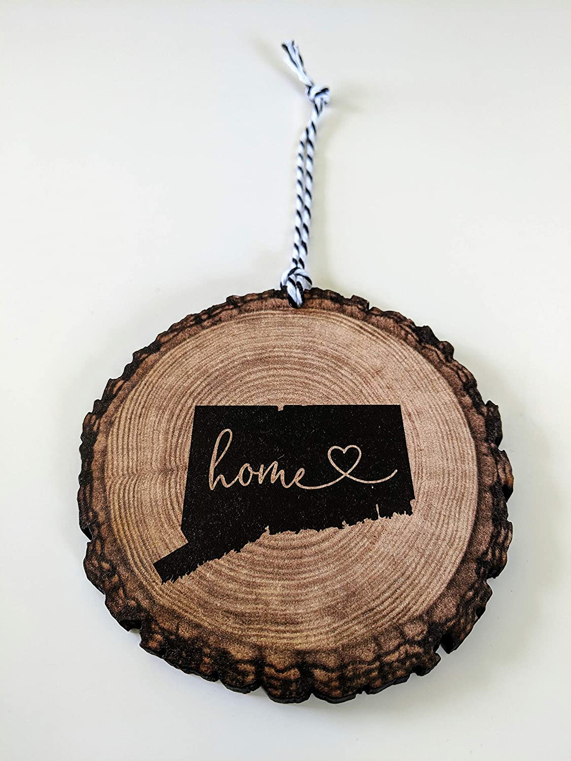 Connecticut Christmas Ornament State Ornament Rustic Ornament Wood Slice Ornament Rustic Country Christmas
