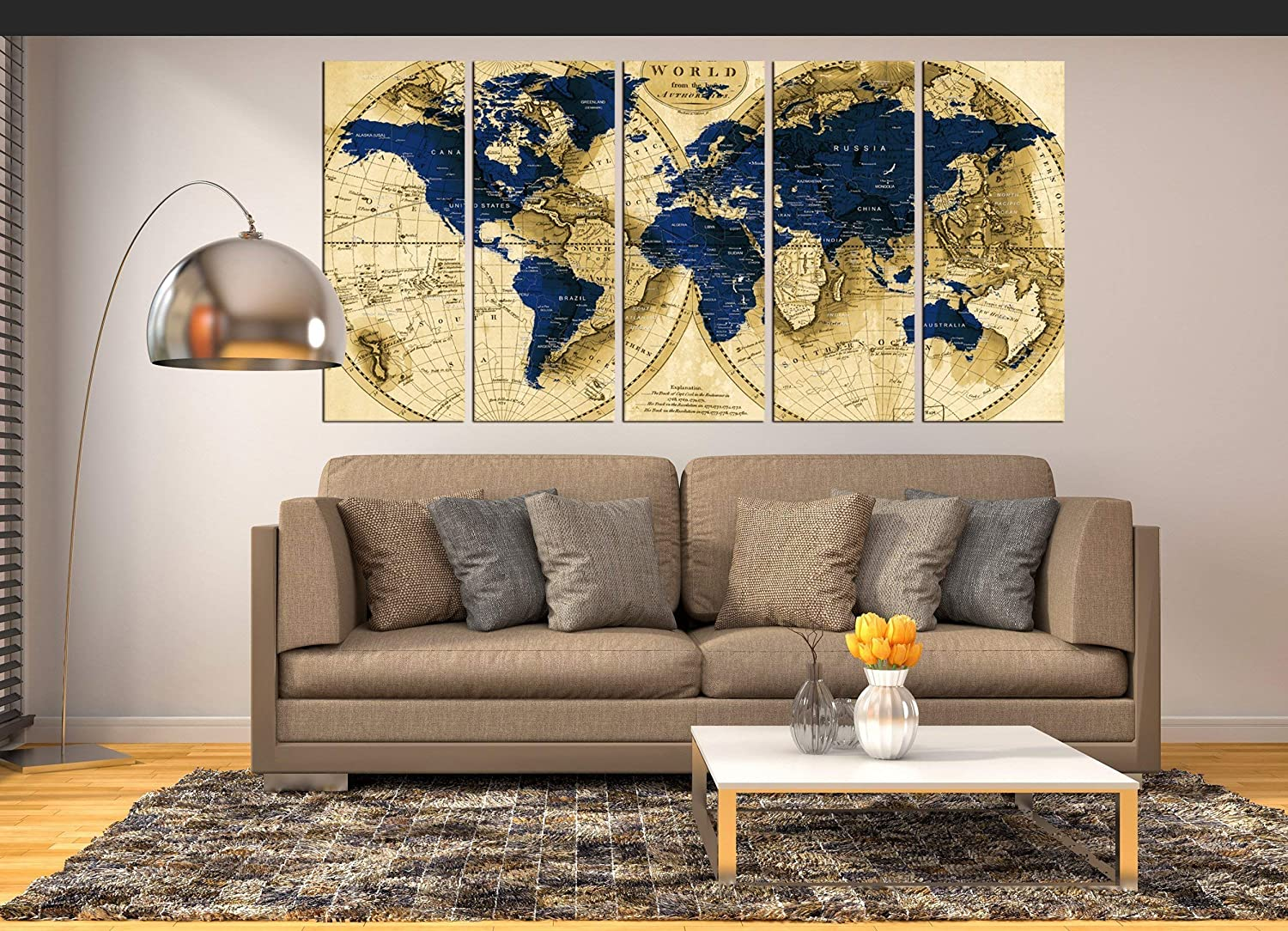 Extra Large Wall Art Navy Blue World Map Canvas Print, Push Pin World Map  Wall Art Canvas Print multi panel 14 pieces for dining room wall decal,  Large