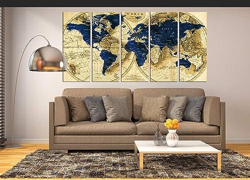 Extra Large Wall Art Navy Blue World Map Canvas Print