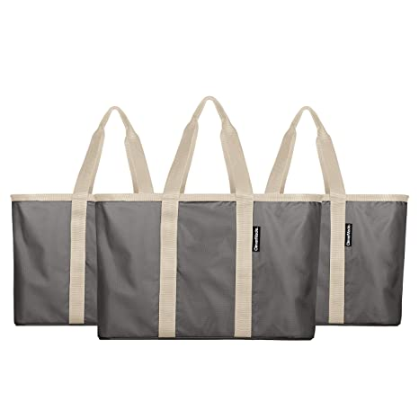 94ef9c470a Amazon.com: CleverMade SnapBasket Reusable Grocery Shopping Bag - Large  Eco-Friendly Durable Collapsible Tote with Reinforced Bottom,  Charcoal/Cream, ...