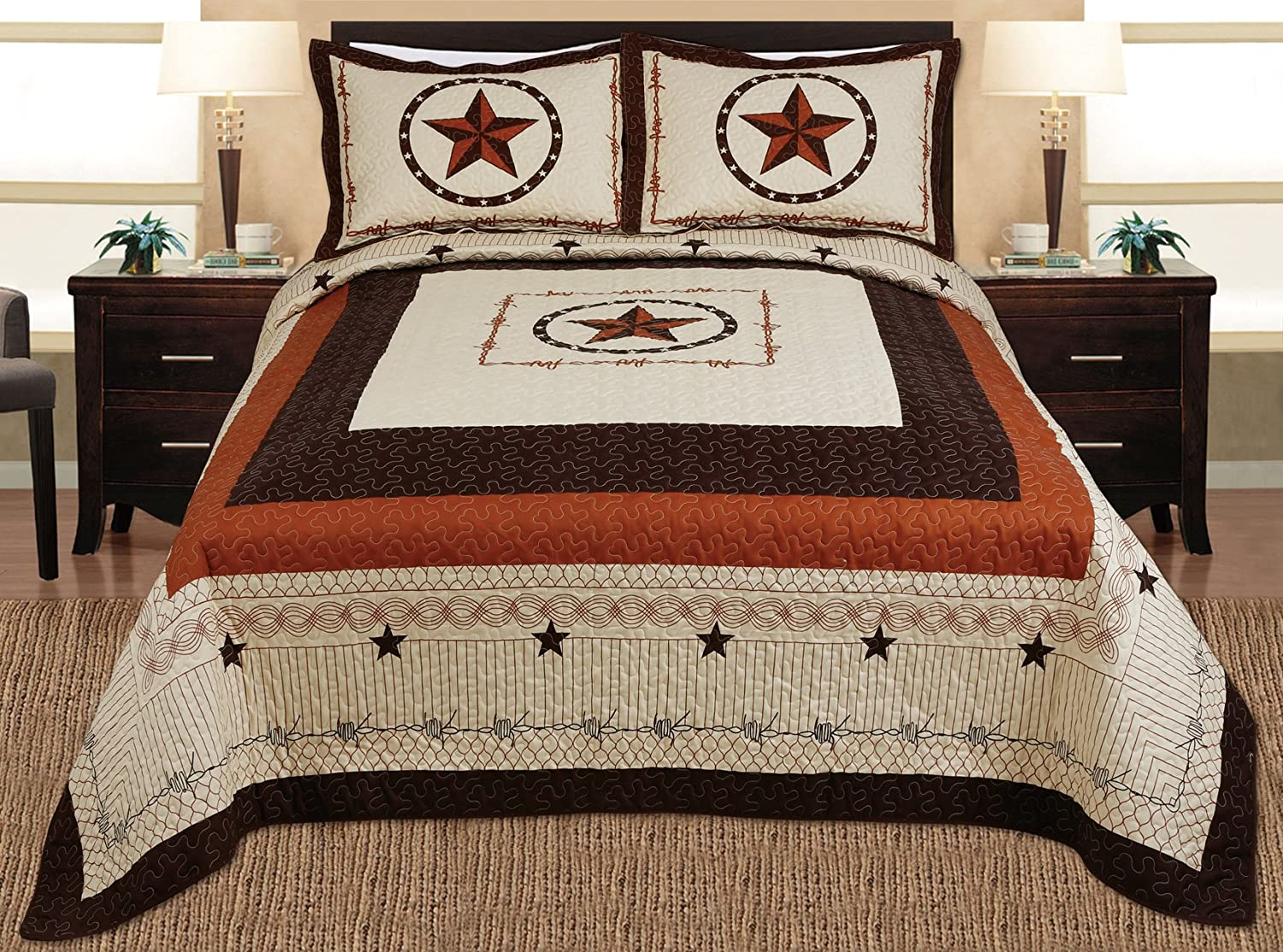 Quilt Bedspread Coverlet Set Full / Queen Size Beige, Brown, Black