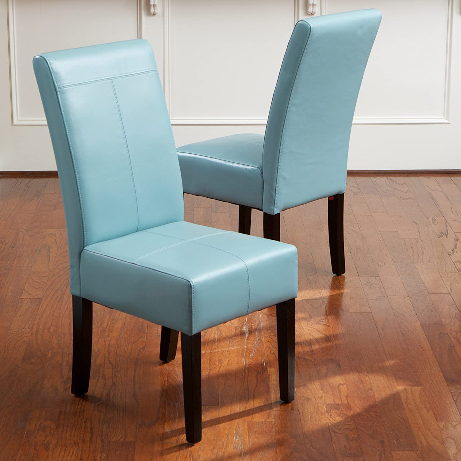 Amazon.com - Stella Teal Blue Leather Dining Chair (Set of 2) - Chairs
