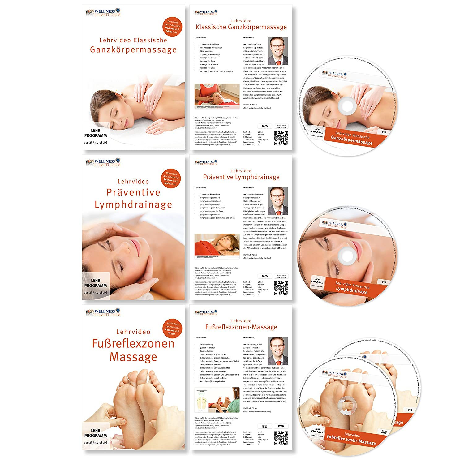 Profi MASSAGE & WELLNESS Heimstudium Serie 1 : 5 DVDs + 1 Handbuch ...