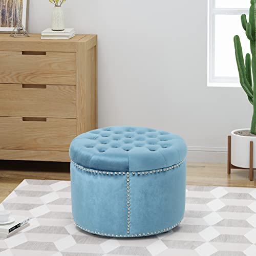 Christopher Knight Home Carlos Glam Velvet Tufted Ottoman, Aqua