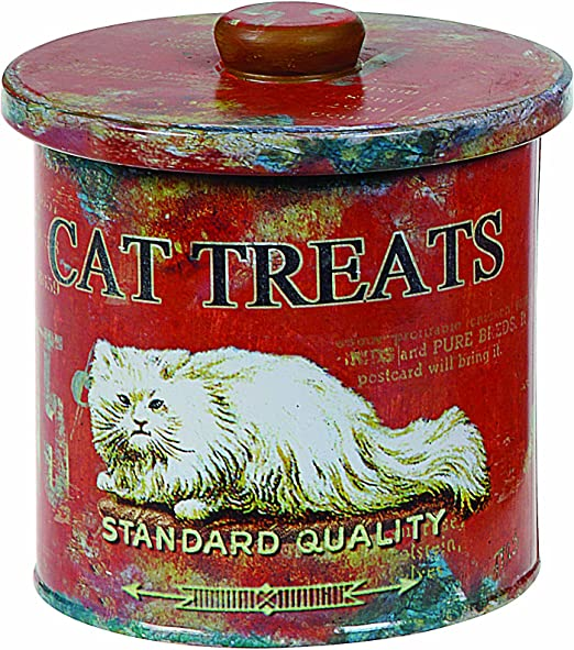 9-Inch Creative Co-op Turn of The Century Tin Dog Biscuit Container
