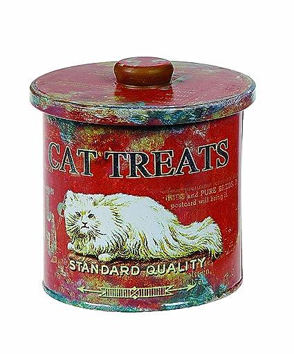 Creative Co-op Lata Decorativa Gato Tratar contenedor