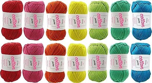 Color intenso de algodón hilo Catania Grande! Gran verano lana 100 ...