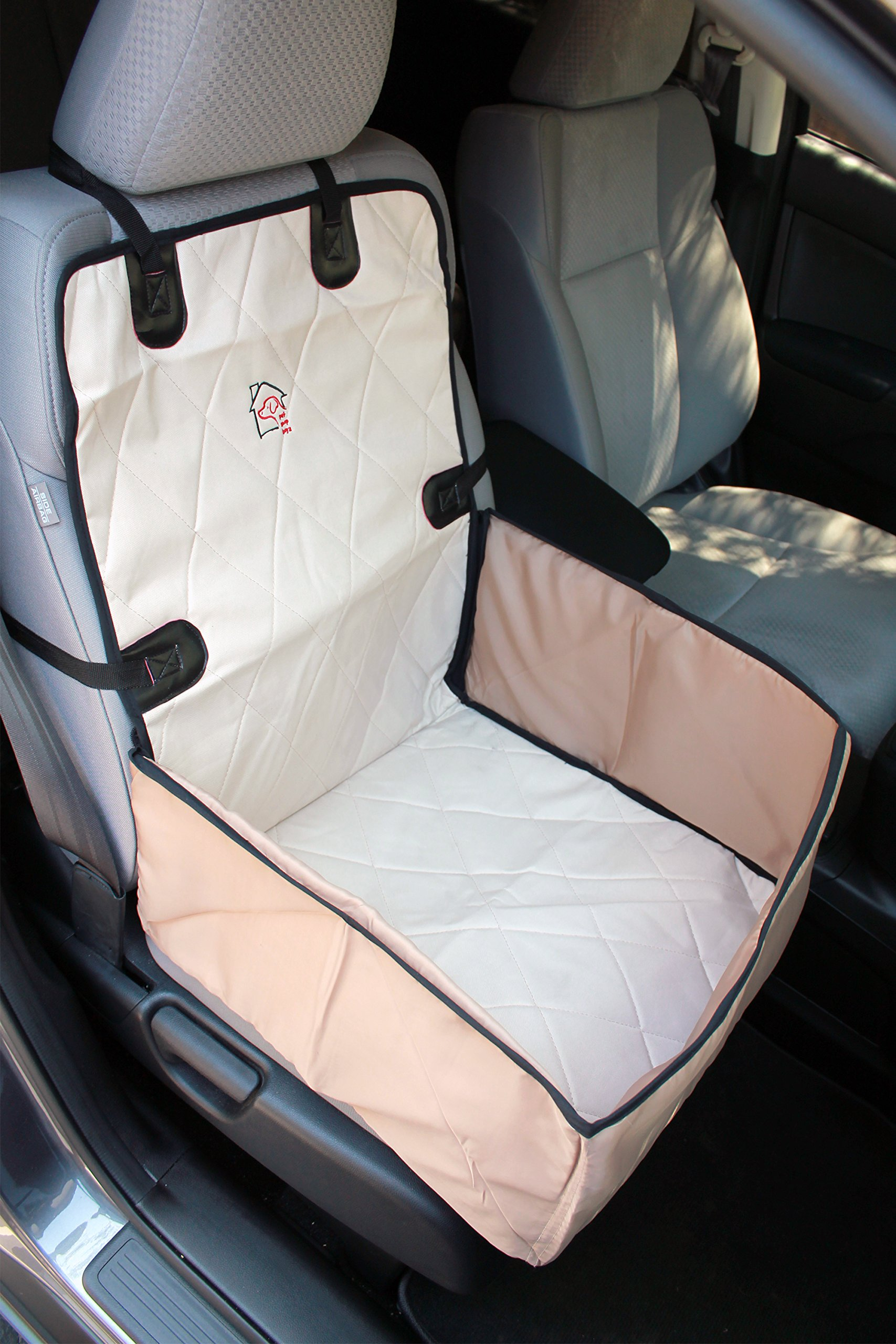 Front Car Seat Cover for Pets Waterproof, Bucket 2 in 1, Side Flaps, Quilted, Machine Washable for Cars, Trucks, SUV's & Vehicles Pets by Pet Shop Boyz (Beige)