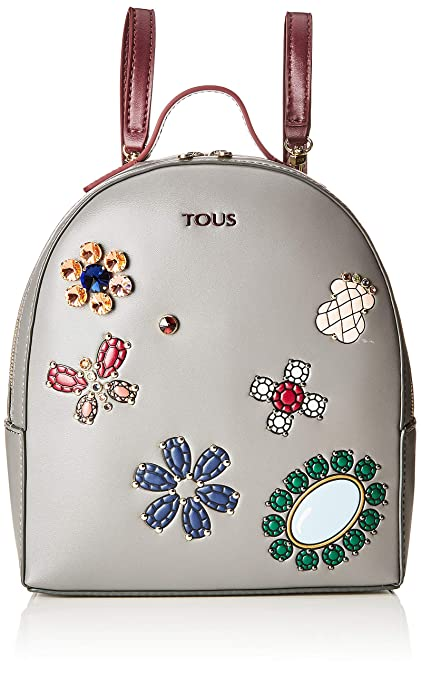 Tous Mochila Teatime Jewel, Bolso Mujer, Multicolor (Gris/Vino), 9x25x21. Pasa ...