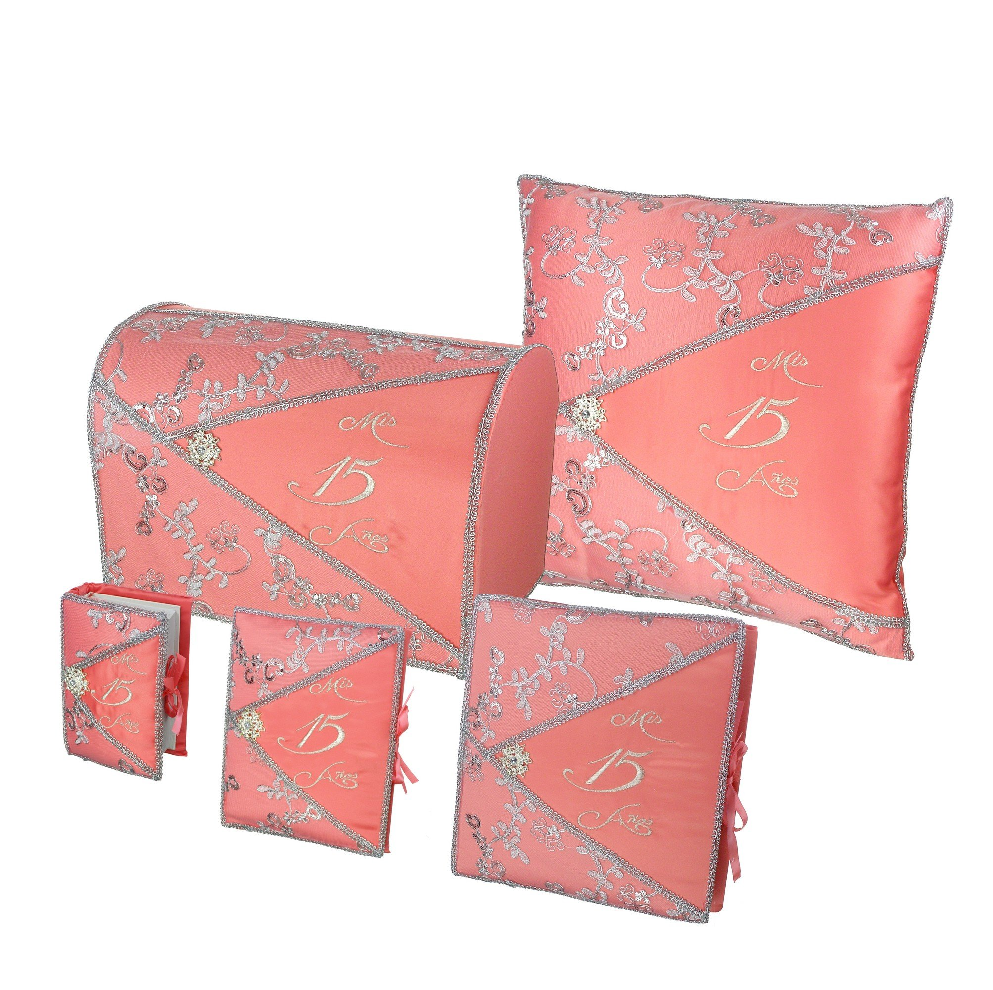 Quinceañera Accessory Set Bible Guest Book Photo Album Gift Box Kneeling Pillow - Coral 200