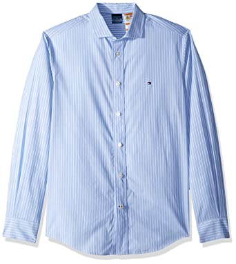 a3fac701 Tommy Hilfiger Men's Adaptive Magnetic Long Sleeve Button Shirt Regular  Fit, Bright Blue, Small