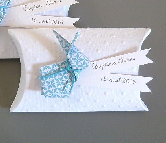 Boîte à Dragées Baptême Garçon Lapin En Origami Papier