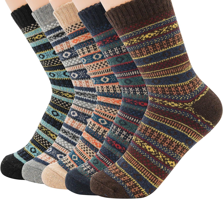 Zando Men's Wool Socks Knit Warm Casual Crew Winter Socks Soft Winter Thick Socks Fashion Cashmere Socks for Men Women