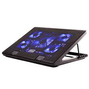 Otimo Laptop Cooling Pad for 12-17 inch Laptop - 5 Ultra Quiet Fans - USB Powered w/2 Ports - Adjustable Angled Stand - USB Hub