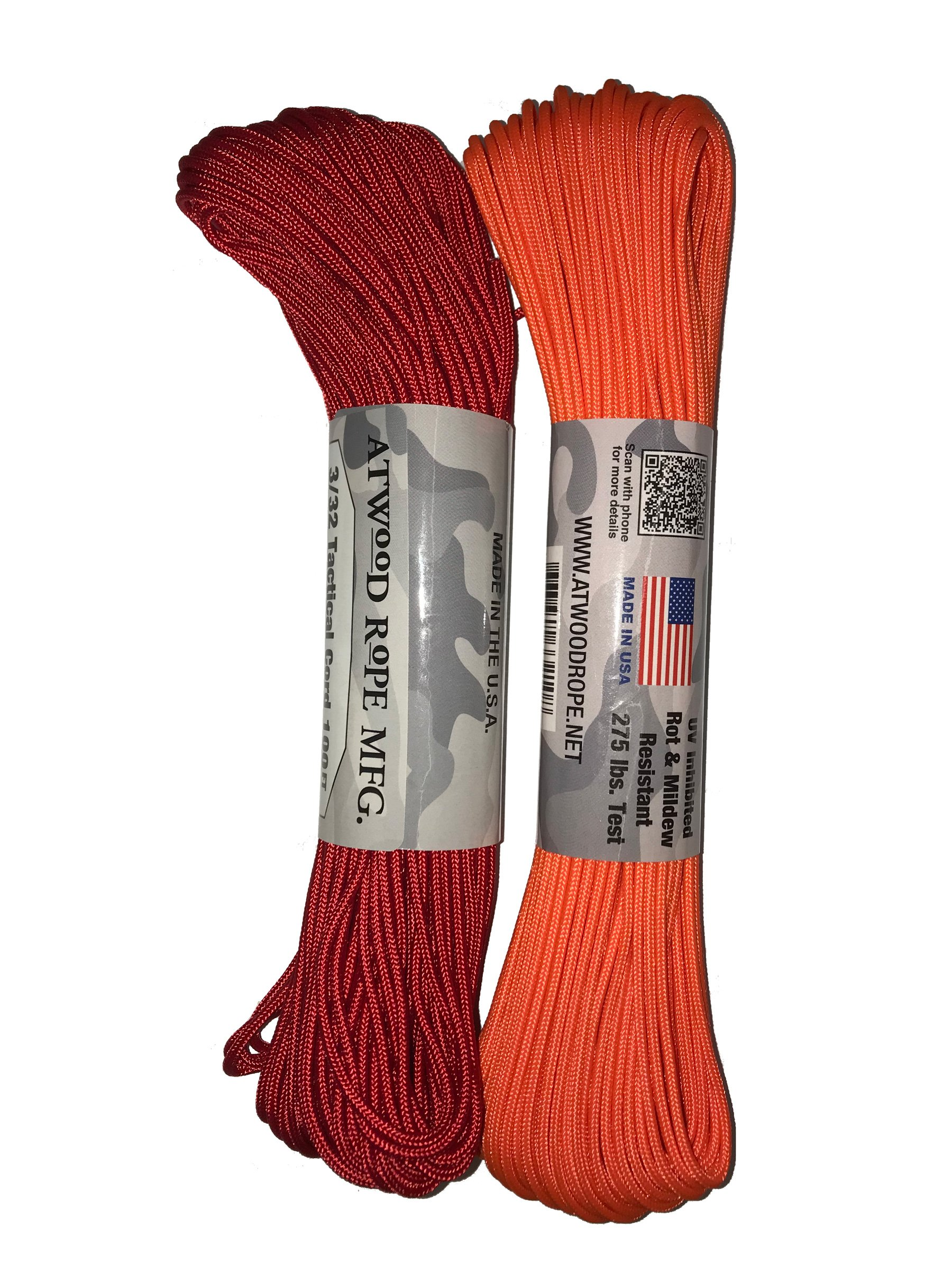 Atwood Mobile Products Paracord 3/32 Tactical Cord 4 Nylon Strand Core 275 Test Weight… (Neon Orange/Red Combo Pack (2 Pack))