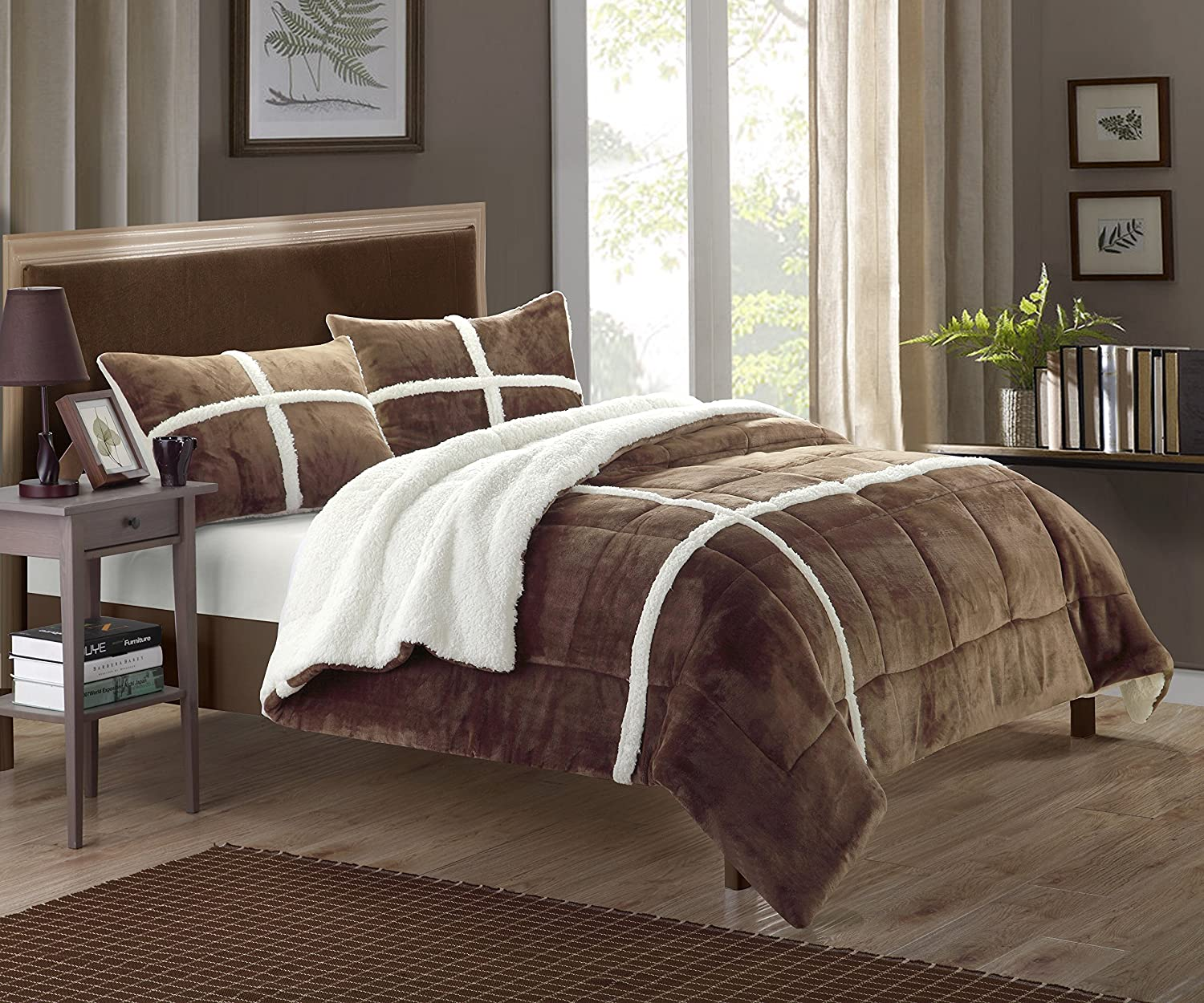Chic Home 3-Piece Chloe Sherpa Lined Plush Microsuede Comforter Set, Queen, Brown