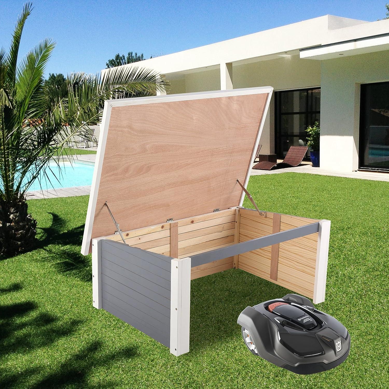 Garaje de madera Zelsius para robot cortacésped, cubierta protectora contra la intemperie, Gris