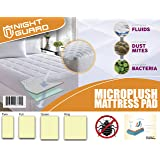 Mattress Pad By Night Guard - Overfilled Ultra Soft Hypoallergenic Microplush Topper - 220gsm - Fits Mattresses Up To 18 inch - Improves Sleeping Quality – Washable - Deep Fitted Pocket (King)