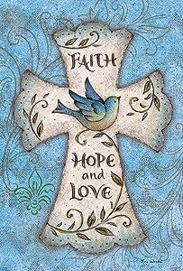 Toland Home Garden Hope and Love 12.5 x 18 Inch Decorative Blue Bird Religious Cross Easter Faith Garden Flag