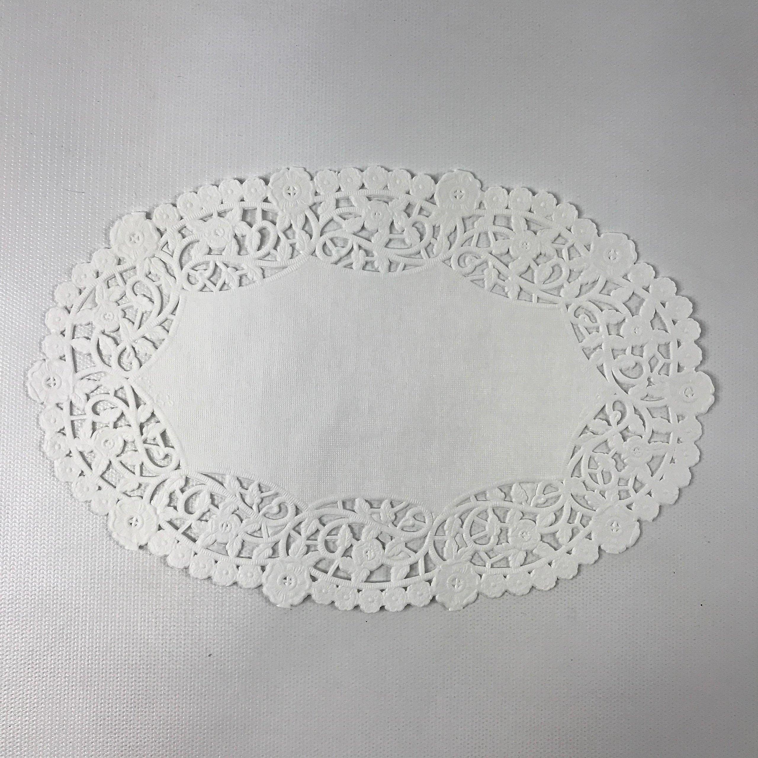 Black Cat Avenue 6'' x 9'' White Oval Lace Paper Doilies, 50 Count