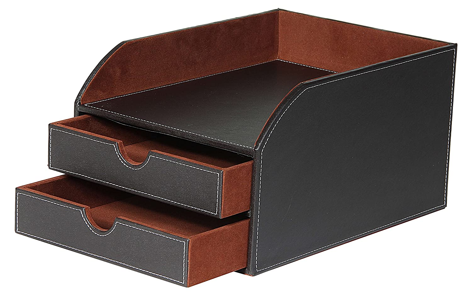 Good Osco Faux Leather 2 Tier Sorter With Letter Tray   Brown: Amazon.co.uk:  Office Products