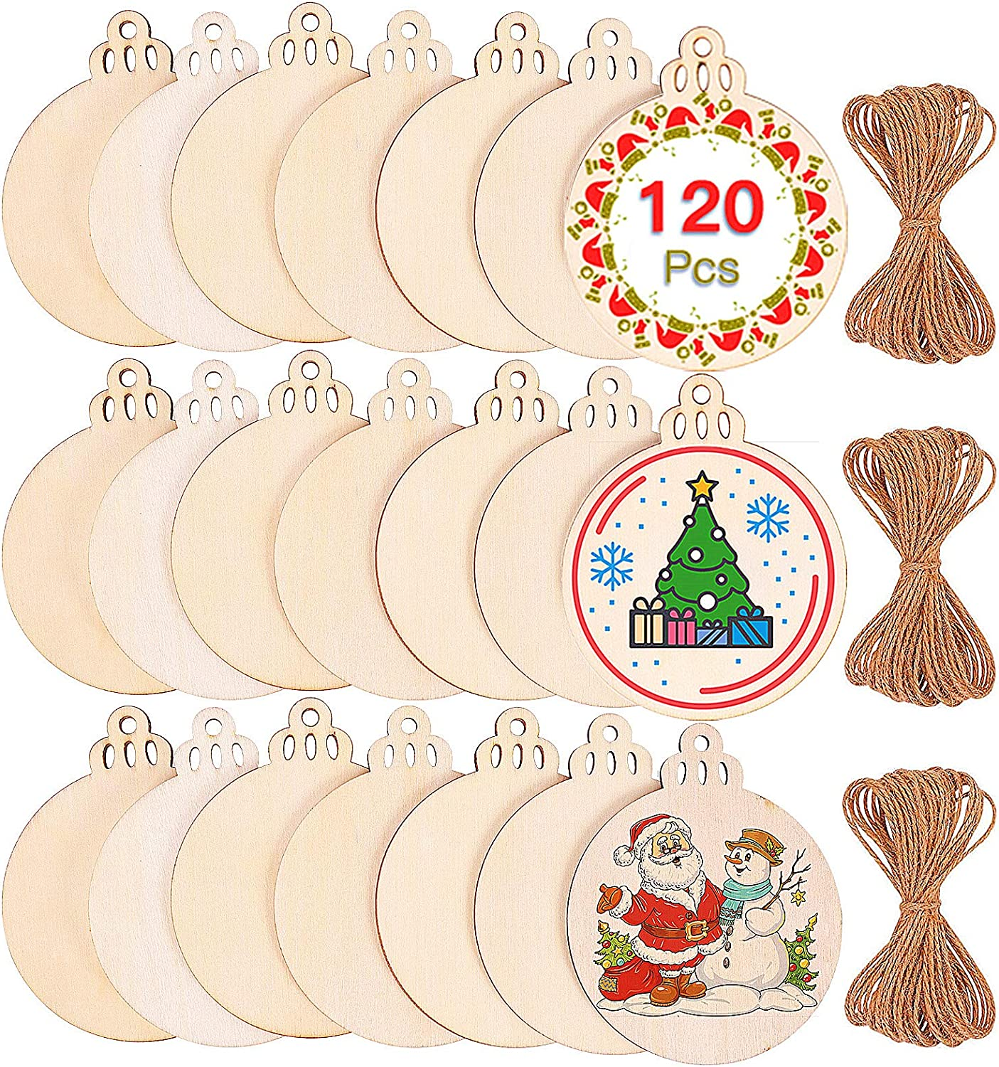 "Max Fun 120Pcs Wood Slices 3.5"" Wooden Diy Christmas Ornaments Unfinished Predrilled Wood Circles for Crafts Centerpieces Round Wooden Discs Hanging Decorations"