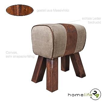 Sitzhocker Vintage Hocker Für Ihr Wohnzimmer Schlafzimmer Flur Baumwolle  Und Leder Mit Beschriftung Unikat Unterteil Aus
