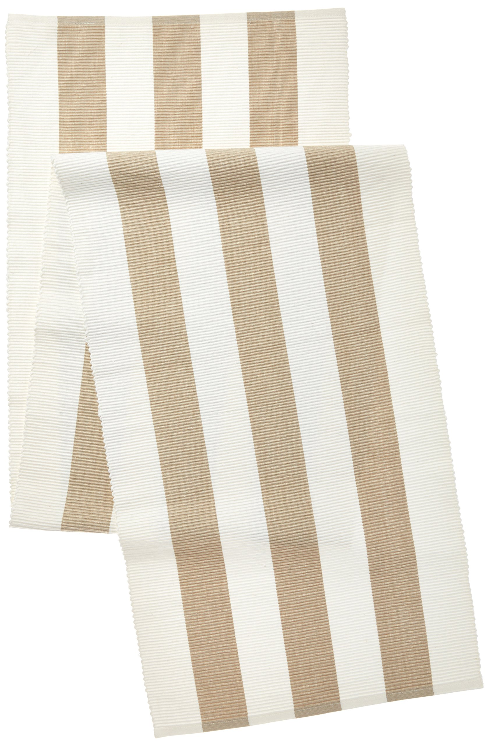 SARO LIFESTYLE Classic Stripe Ribbed Cotton Table Runner, 16'' x 72'', Taupe