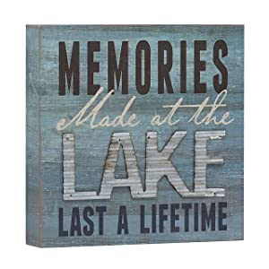 "Barnyard Designs Memories at The Lake Last a Lifetime Box Wall Art Sign, Primitive Country Lake Home Decor Sign with Sayings 8"" x 8"""