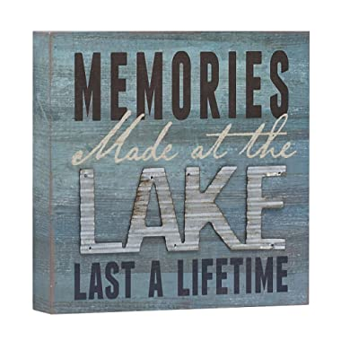 Barnyard Designs Memories at The Lake Last a Lifetime Box Wall Art Sign, Primitive Country Lake Home Decor Sign with Sayings 8  x 8